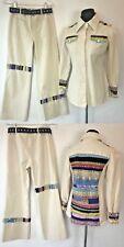 Vintage Maximum Ivory Denim Patchwork Bell Bottom Jeans Jacket Set size S M P12