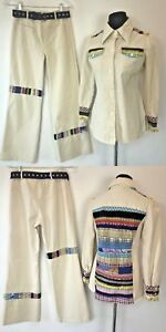 Vintage Maximum Bell Bottom Jeans Jacket Set size S M Ivory Denim Patchwork P12