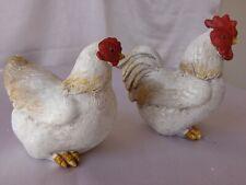 couple poule coq en resine