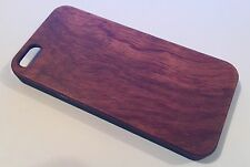 Apple Iphone 5 5S cover case carved hard back real wood wooden solid oak brown
