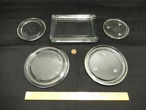 5 Piece Lot of Heavy Clear Glass Pillar Candle Trays or Coasters