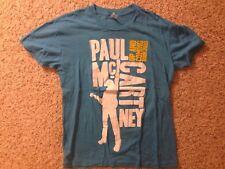 Vintage Paul McCartney 2010 Up And Coming Tour Aqua Blue Graphic Shirt Size S