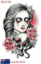 Body Art Pink Dangerous Scary Lady Tattoo Waterproof Temporary Tattoo Stickers