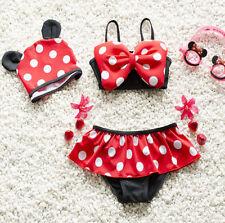 Baby Girls Polka Dot Minnie Mouse Swimsuit Bikinis Swimwear Swimming Costume 4T