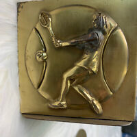 VTG Set of Woman Female Tennis Player Brass Bookends • Heavy! See Pictures
