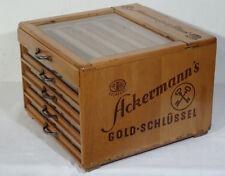Alte Werbung - Schaukasten Kurzwaren Ackermann Gold Schlüssel Nähseide - TOP!