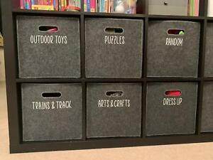 Toy Storage Vinyl Sticky Labels / Stickers, IKEA Kallax Drona Boxes Kids Bedroom