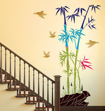5700049 Wall Stickers Bamboo Trees Colorful with Rocks and Birds Jungle Scenery