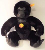 Steiff GORA Gorilla 062124 Button Label in Ear + Tag, Rare Black Soft Toy