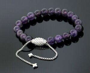 David Yurman 925 Sterling Silver 8mm Amethyst Spiritual Beads Bracelet