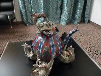 Skulptur Teekanne fünf Zebras, Handwerkskunst aus Südafrika, 90er Jahre, tadello