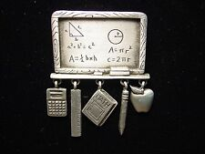 """JJ"" Jonette Jewelry Silver Pewter MATH Teacher Chalkboard with Charms Pin"