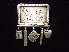"""JJ"" Jonette Jewelry Silver Pewter MATH Teacher Chalkboard with Charms Pin"