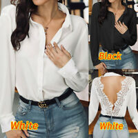 Plus Size Womens Casual Button Up Shirt Ladies V Neck Long Sleeve Tops Blouse UK