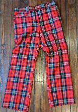 Vintage Levi's Red Plaid Pants 1970s Disco Golf Panatela