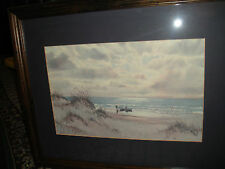 Superb Kenneth Harris Watercolor Painting Print-Signed 1960-Ocean View-Boat
