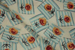 Fabric Vintage French Art Deco Design material Geometric floral blue 2.47 yards