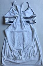 LULULEMON No Limits Tank Top White Groovy Stripe Nimbus size 8 EUC Yoga Run Spin