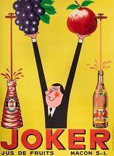 Original JOKER Juice Poster - Rick Cursat - Fruits Apples Grapes  Mâcon - 1955