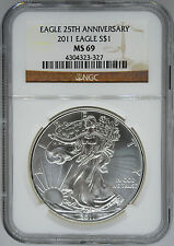 2011 NGC MS 69 $1 Silver American Eagle (Uncirculated 1 oz)
