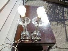Pair of vintage clear glass ashtray table lamps
