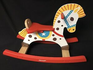 Janod Punchy Colorful Wooden Rocking Horse Age 12-24 months Excellent Used Cond