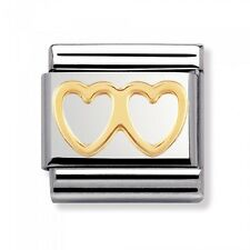 BRAND NEW GENUINE NOMINATION CLASSIC 18ct DOUBLE GOLD HEART CHARM (03011603)