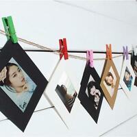 DIY Hanging Display Frame Wall Art Photo Picture Album Rope Clip Home Decor YI
