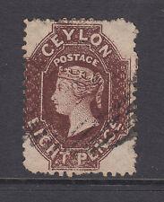 Ceylon SG 68 used 1867 8p chocolate Queen Victoria, watermark 6