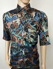 Christian DIOR vintage chemise en soie multicolore 80s/90s Hip Hop Rétro Taille 41/42