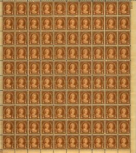 US #636 4c Martha Washington, Full Sheet of 100 MNH VF (BCV $550)