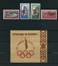 S372 Dahomey 1968 Olympics set & sheet with cover Mnh