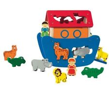 Playtive Wooden Noah's Ark Shape Sorting Game. 11 Pieces. Noah, Wife, Animals.