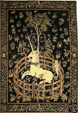 "NEW 37 x 26"" UNICORN IN CAPTIVITY TAPESTRY WALL HANGING"