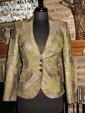 ETRO METALLIC GOLD AND GREEN BLAZER JACKET 40 US 4