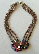Butler & Wilson Pink/Purple/Green Crystal and Glass Flower Necklace