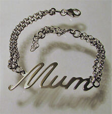 """Sterling Silver 925 Solid Mum Bracelet Gift for Mothers Day Length 7.5"""""""