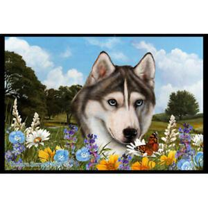 Siberian Husky Summer Flowers Floor Mat