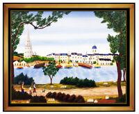 Fanch Ledan Oil Painting On Canvas Large Original Signed Water Landscape Artwork
