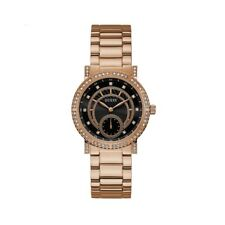 Guess Ladies Watch Constellation W1006L2 Rose Gold Case With Crystals Black Dial