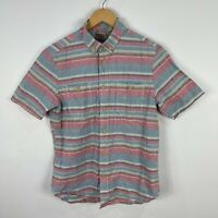 Duffer Of St George Japan Mens Button Up Shirt Medium Multicoloured Striped