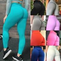 Womens High Waist Yoga Leggings Sports Pants Hip Push Up Scrunch Fitness Workout
