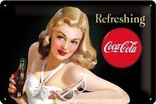 Coca cola Lady with glasses chapa escudo Escudo de chapa de metal Tin sign 20 x 30 cm