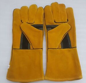"""welders welding gloves gauntlets heat resistant safety leather cat A+12 pair 14"""""""