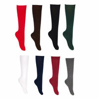 Girls Plain Cotton Knee High School Uniform Socks 1 Pair in Different Colors