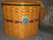Longaberger 1997 Christmas Holiday Hostess Snowflake Basket Set Wood Lid Tie On