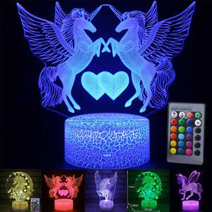 3D Unicorn LED Night Light Remote Control Table Lamp Kids Birthday Xmas Gifts UK