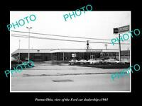 OLD LARGE HISTORIC PHOTO OF PARMA OHIO, THE FORD MOTORS CAR DEALERSHIP c1965