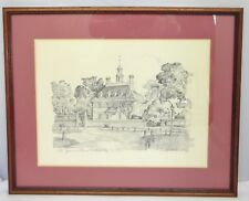 Williamsburg VA Set of 4 Framed Pencil Sketch by Charles H. Overly (Reprints)