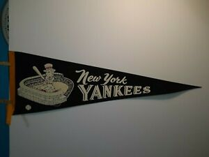 "MID CENTURY NEW YORK YANKEES PENNANT 27"" X 8 3/4"""